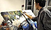 Michael at work in his studio
