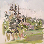 Martha Johnson, Eagle's Point View, back to the Holland House (with clothesline), Grand Manan, NB