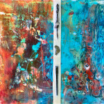 M.J. Edwards, There Is Only One Ocean, Encaustic Mixed Media, $380